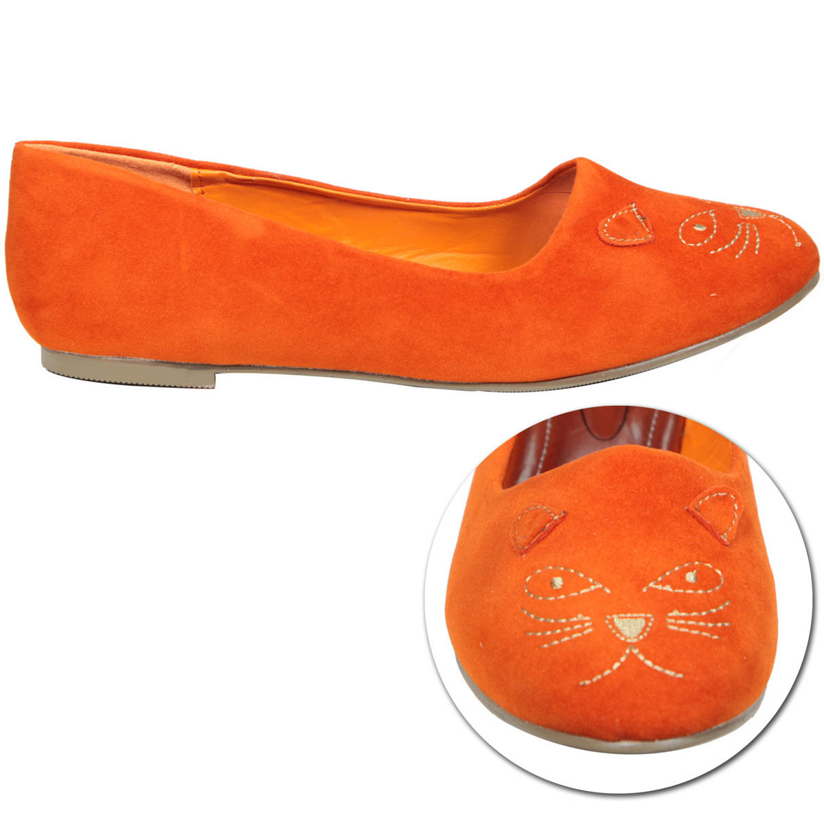 Orange Cat Detail Flat Slipper Shoe Preview
